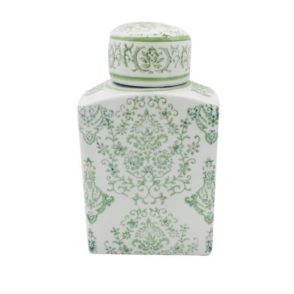 Green Ceramic Chinoiserie Jar