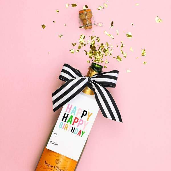 When it Rains Paper Co. - Happy Birthday Wine Tags - A Wine & Spirits Gift Kit- Single - default