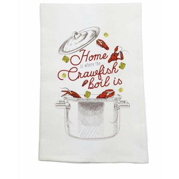Home Is Where the Crawfish Boil Kitchen Towel