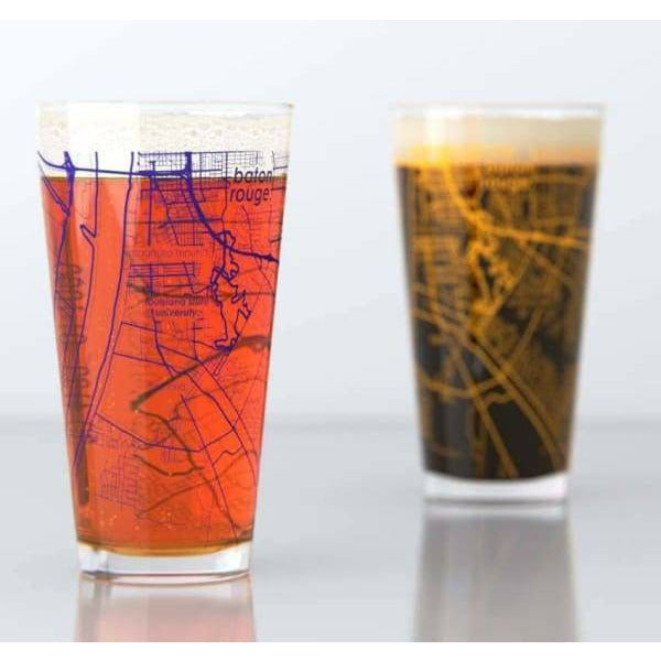 Well Told - Baton Rouge LA LSU College Town Map Pint Pair - default
