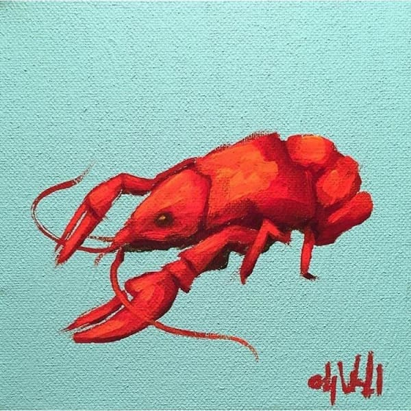 Mini Crawfish Oil Painting By Ashley Wachal - Art