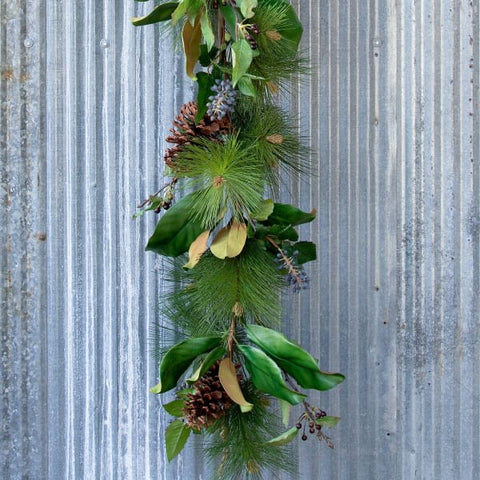 Mixed Evergreen Garland with LED Lights