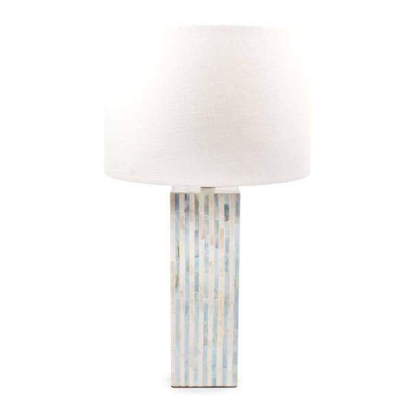Mother of Pearl Table Lamp - Blue Stripe