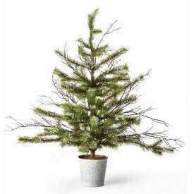 Pine And Twig Flocked Tree In Tin Pot