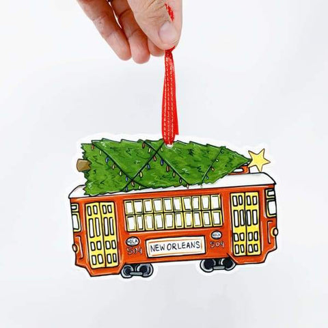 Red Streetcar Christmas Tree Ornament