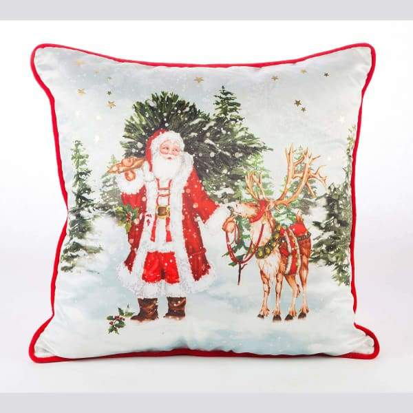 Santa and Deer Vintage Silk Velvet 18x18 Pillow