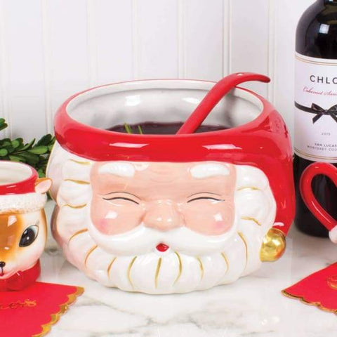 Santa Punch Bowl & Ladle - Red
