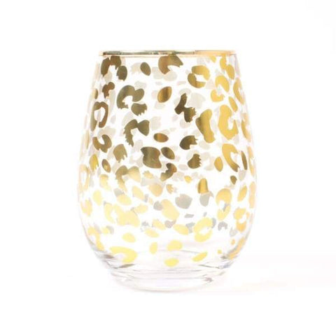 Stemless Gold Leopard Wine Glass