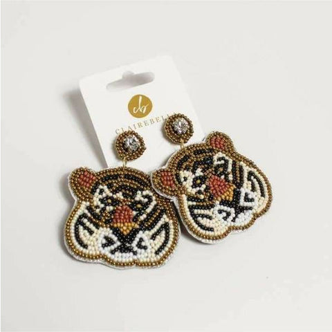 Tiger Beaded Earrings