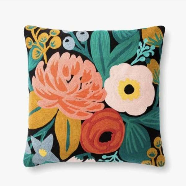 Vintage Blossoms Embroidered Pillow- Black