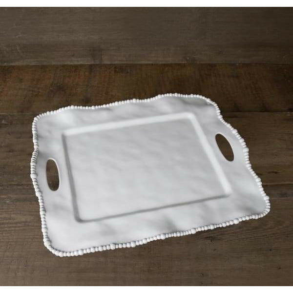 White Beaded Rectangle Serving Tray