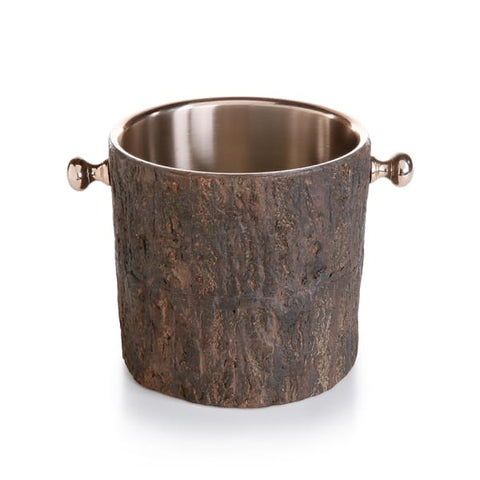 Wood and Rose Gold Ice Bucket
