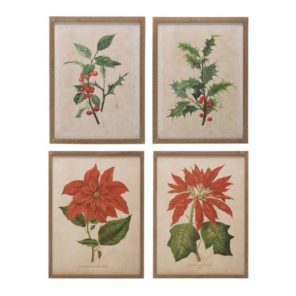 Wood Frame Christmas Florals Wall Decor