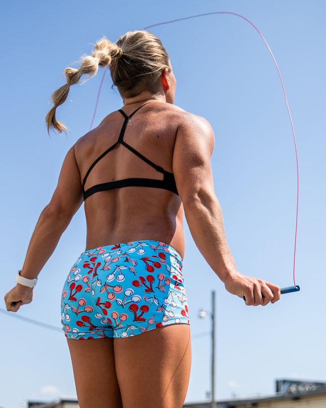 Keep Moving Lined Shorts- Cherry Pie