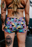 Keep Moving Lined Shorts- Shark Attack