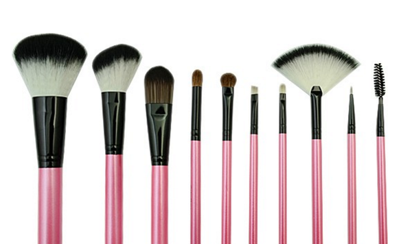 10pcs Professional Makeup Brushes Pink Shine-High Quality Wool Brush Set # 8117