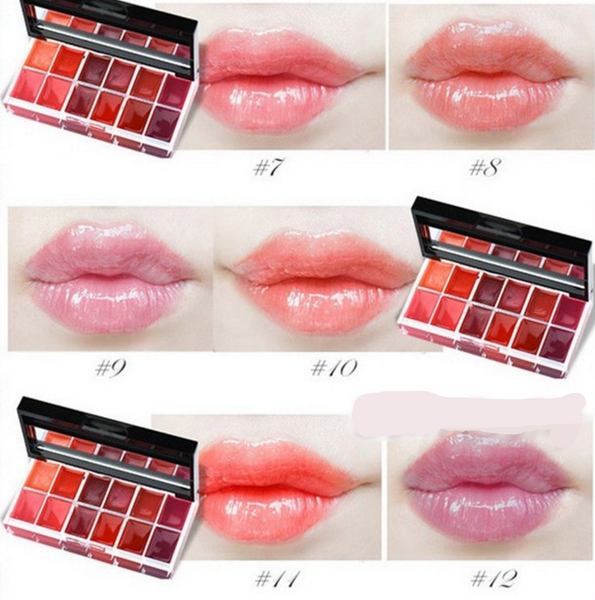 12 Colors Tinted Lip Gloss Palette # 24414