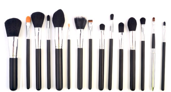 15Pcs Black Brush Set With Wooden Handle # 15457