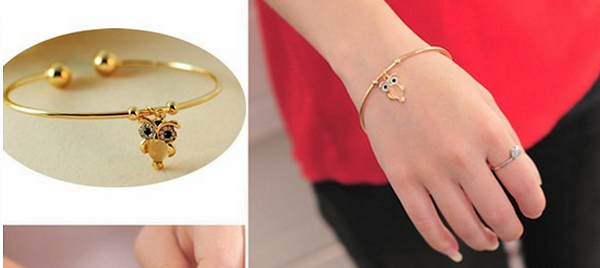 Cute Owl Gold-Plated Stylish Rhinestone Bangle # 25838