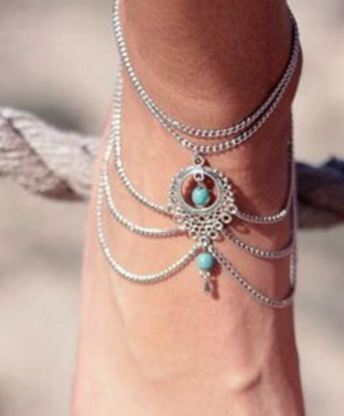 Ankle Bracelet - Turquoise Water Drop Design # 21263