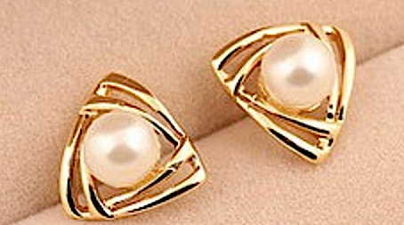 Pearl - Triangular Earrings # 12200