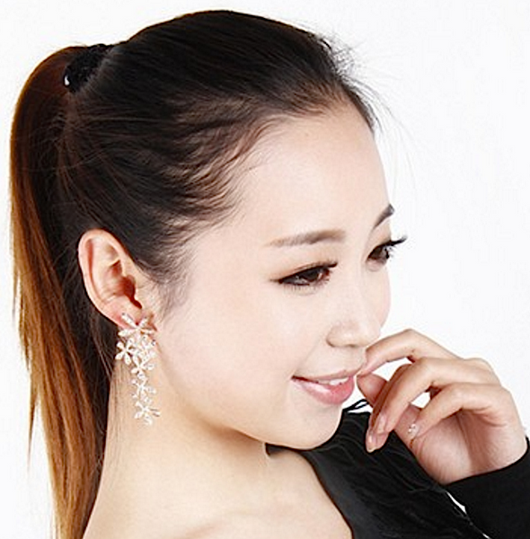 Diamond-like Floral Earrings # 9647