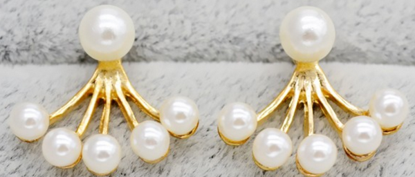 Octopus-Shaped Pearls Ear Studs # 24375