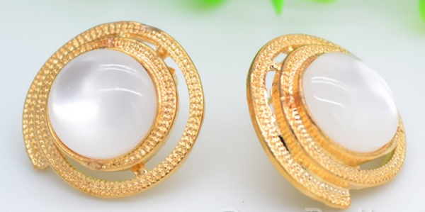 Zircon Circle Ear Studs Delicate Gold Alloy # 24373