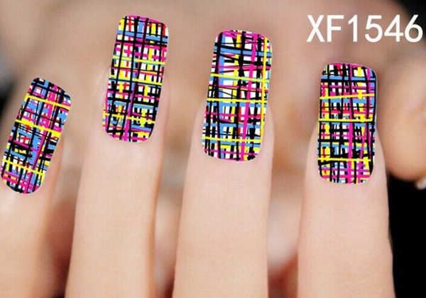 Colorful Lines Pattern Nail Art Transfer Sticker XF1546 # 35270