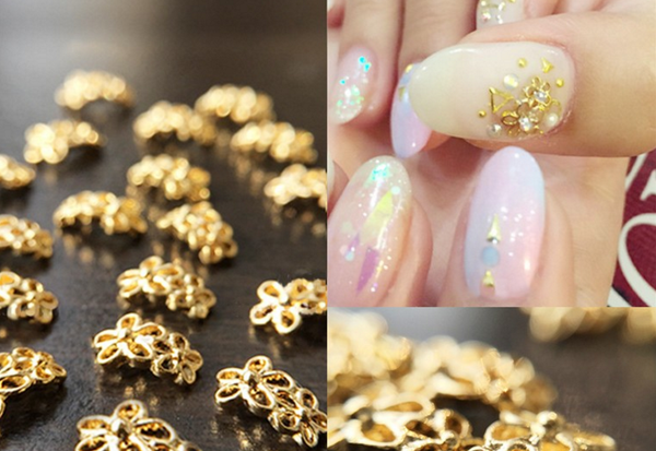 1pc 5*8mm Gold Flower Nail Studs 3D Nail Decoration # 23779