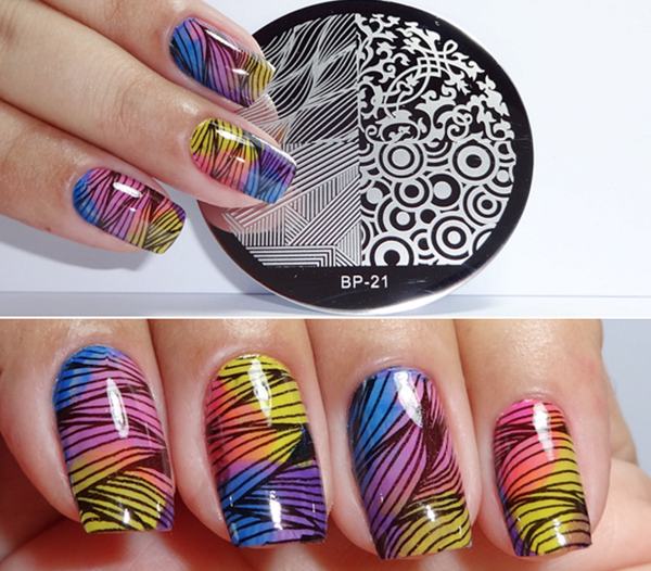 4 Mixed Patterns Nail Art Stamp Template BP21 # 17266