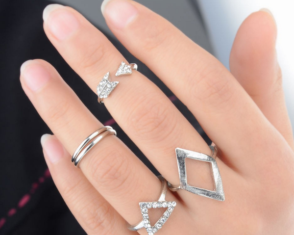 5Pcs/set Fashion Mid Knuckle Rhinestone Ring Jewelry Decoration Gold/Silver # 25451