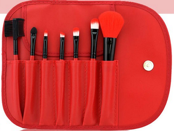 7Pcs Hot Red-Handled Makeup Brush Cosmetic Brush Kit With Free Case # 12598