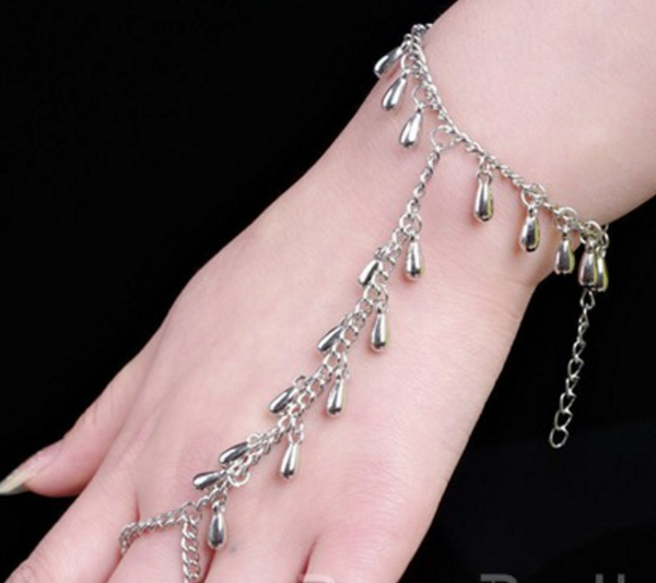 Fresh Multi-Layered Raindrop Design - Finger Ring Bracelet Silver Chain # 20947