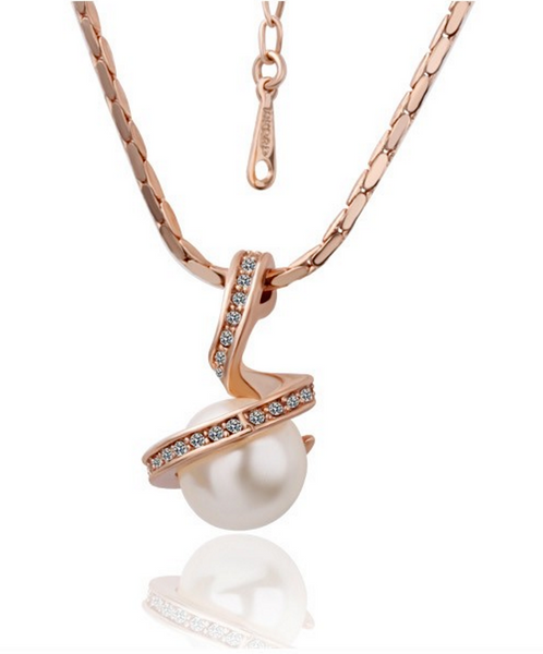 Gold Plated Earring & Necklace - Pearl # 14101