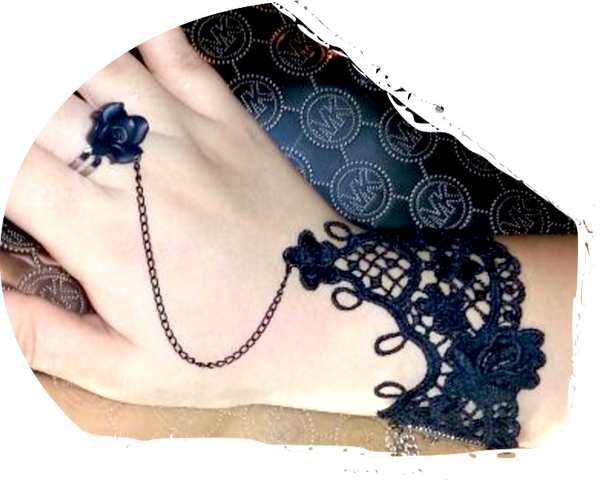 Gothic Lace Flower Bracelet Ring Set # 3691