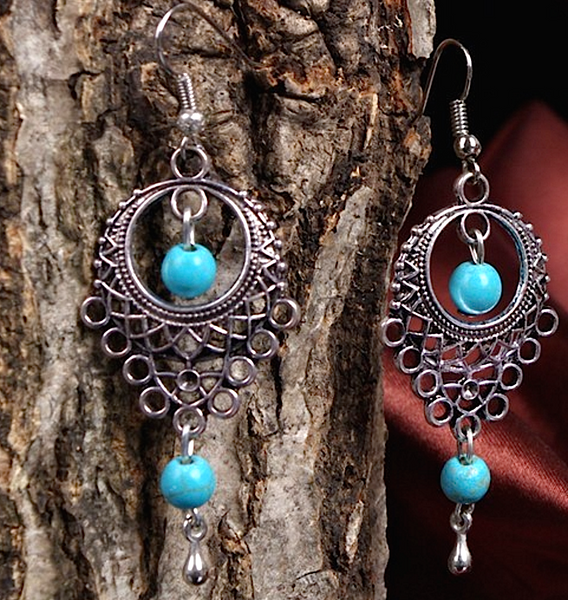 Hollow-out Turquoise Earrings  # 21264