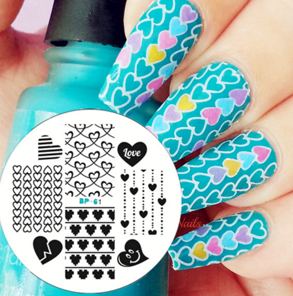Hearts Nail Art Stamping Template - BP61 # 20034