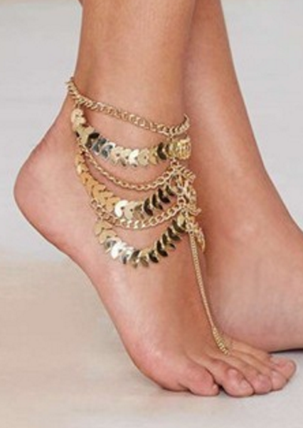 Retro Multi-layer Ankle Bracelet Delicate Leaf Pattern # 20948