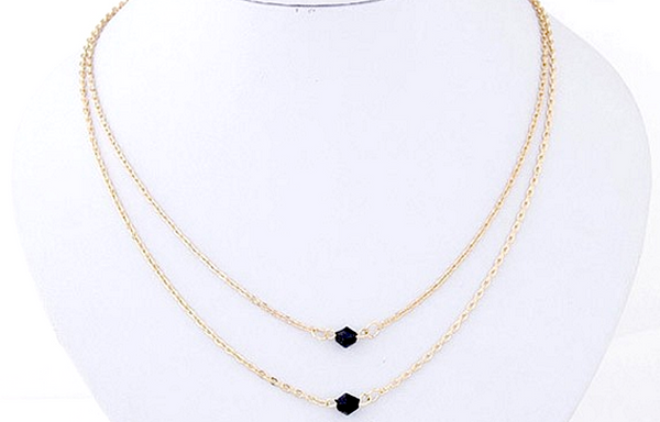 Double-Layer Necklace - Black Stone # 20995