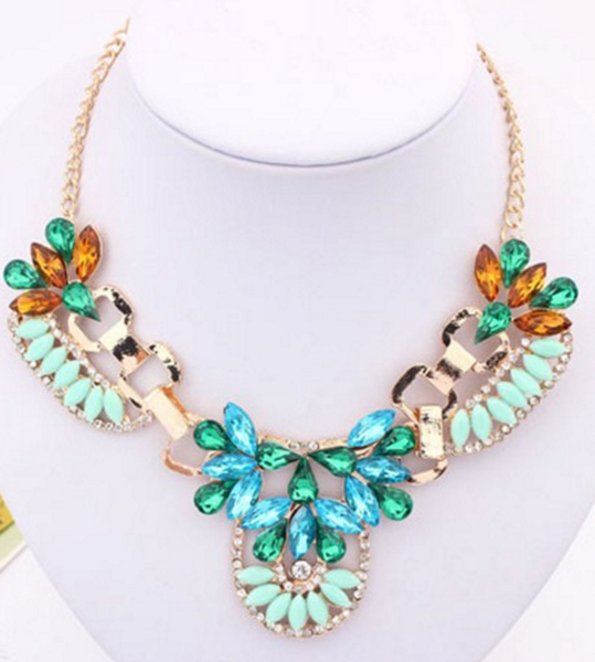 Vintage Flower Necklace Hollow-out Floral Shiny Crystal Posh Sweater Necklace # 18859