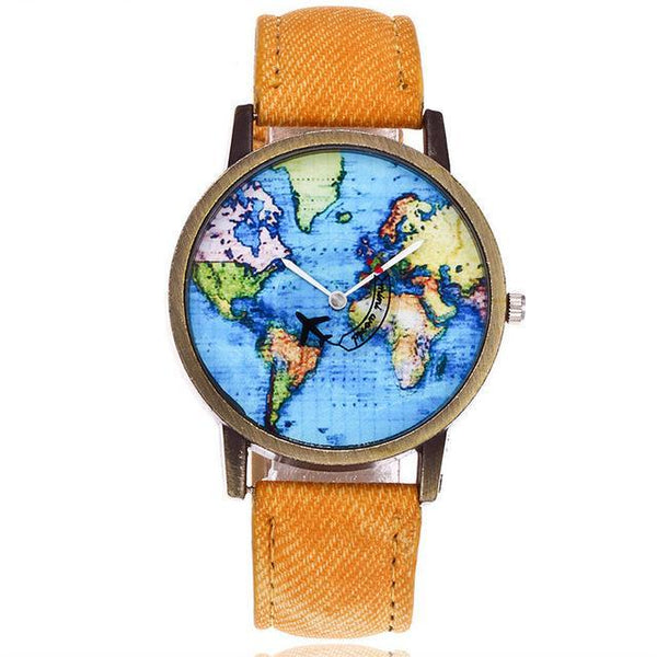 Plane And World Map Watch (Women) - Denim Fabric
