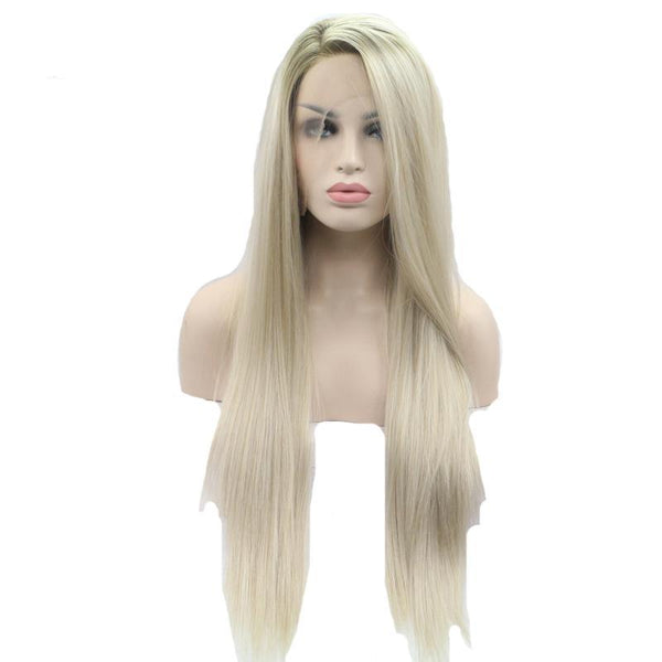 Blonde Ombre Synthetic Lace Front Wig - Brown Roots