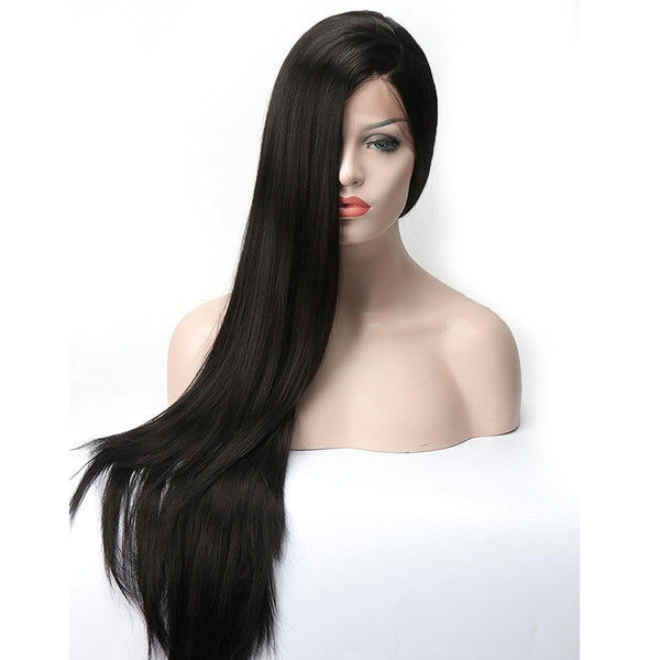 Long Straight Lace Front Synthetic Wig - Heat-Resistant