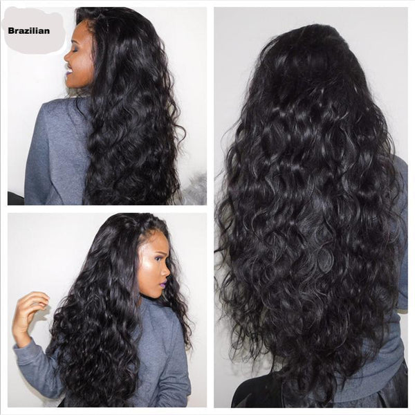 Brazilian Body Wave Full Lace Wig - Natural Black - 180% Density