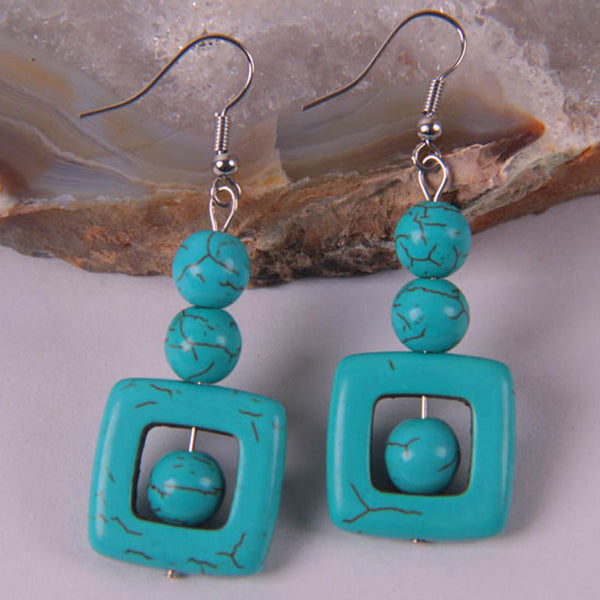 Square Turquoise Drop-Earrings