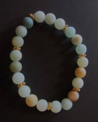 Amazonite Bracelet - Earth Tones with Gold Accents