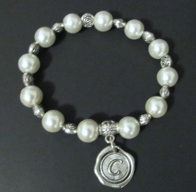 Initial Bracelet - Large Pearls (10mm)