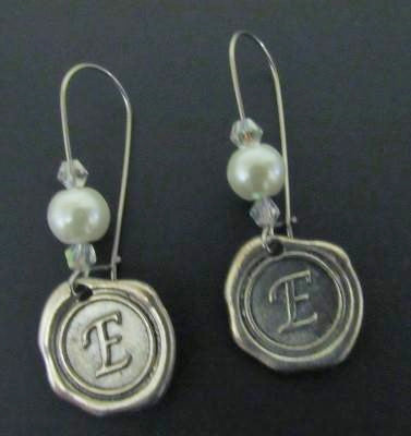 Initial Earrings - Long Kidney Hoop
