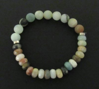 Amazonite Bracelet - Earth Tones with Polished Stones & Silver Accents